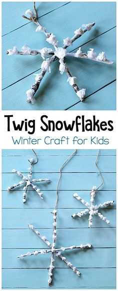 Love this for Botany! Twig Snowflake Craft for Kids: This winter art project is a great way to get children creating with nature! Use sticks and tissue paper in this process art project. Hang your snowflake craft to decorate for winter or use as homemade Christmas ornaments!