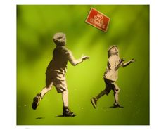 size: Giclee Print: No Ball Games by Banksy : This exceptional art print was made using a sophisticated giclée printing process, which deliver pure, rich color and remarkable detail. Banksy Work, Banksy Graffiti, Banksy Images, Banksy Prints, English Artists, Design Museum, Large Painting, Printing Process, Giclee Print