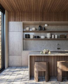 "MONC XIII on Instagram: ""A stunning kitchen both modern and organic from @noasantos."" Wood Ceilings, Kitchen Pantry, Architecture Details, Kitchen Design, Interior Design, Outdoor Decor, Wall, Modern, Instagram"