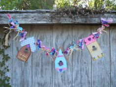 Spring Birdhouse Garland by PaintspotsnSplinters on Etsy, $16.95
