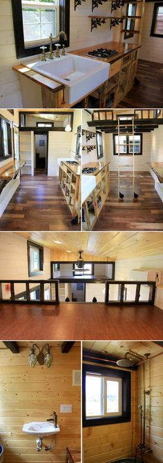 This 8′ x 24′ tiny house on wheels features two sleeping lofts, beautiful interior woodwork, and storage stairs leading to the main loft.  The stairs access the loft from the back, which moves them out of the main living area.