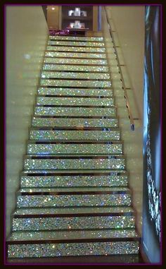Awesome sparkle stairs.... maybe do this to a wooden step stool or play house?