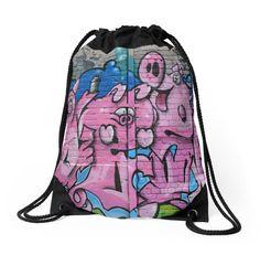 Street Graffiti Numero Tres Drawstring Bag Backpack by JUST3Js