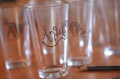 This is our favorite new discovery for keeping glasses straight for a house full. We set out a grease marker and let everyone write/doodle their name right on their glass. Everyone gets one glass per day and I get to keep up on dishes.