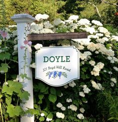 Doyle House Sign - Hand-carved text & groove, hand-painted artwork. Click through to see more handcrafted signs by Danthonia Designs!