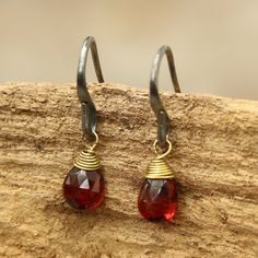 Garnet faceted drops earrings with oxidized sterling silver hooks