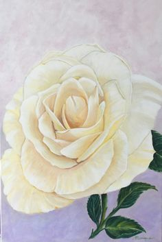 A simple white rose, acryl painting 40x60 by Monique Heijnis