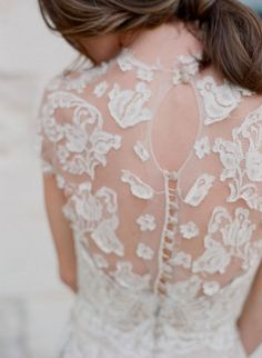 "Using sheer panels of fabric for the neckline of wedding dresses (the so called ""illusion neckline"") is a huge trend, whether beaded, with lace, embroidered or just plain."