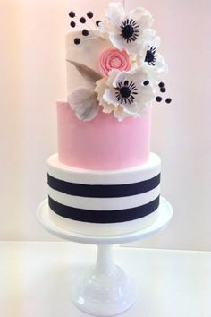 Fondant Wedding Cake with Sugar Flowers Pink Black and White Wedding Cake Frost… pink and white cake, Black And White Wedding Cake, White Wedding Cakes, Beautiful Wedding Cakes, Gorgeous Cakes, Striped Wedding, Cake Wedding, Purple Wedding, Gold Wedding, Floral Wedding