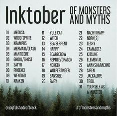 Inktober monsters and myths drawing prompt list challenge 31 days Creative Challenge, 30 Day Drawing Challenge, Art Style Challenge, Challenge Ideas, Oc Challenge, Monthly Challenge, Inktober, Creative Memories, Drawing Ideas List
