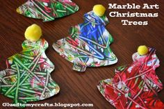 Marble Art Christmas Trees