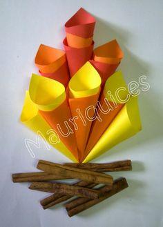 Com quadrados de papel amarelos, laranja e vermelhos fizemos muitos canudinhos. Depois, colocámos uns canudos dentro dos outros e c... Kids Crafts, Craft Stick Crafts, Fall Crafts, Diy And Crafts, Arts And Crafts, Best Fireworks, Fireworks Craft, Indian Crafts, Bonfire Night