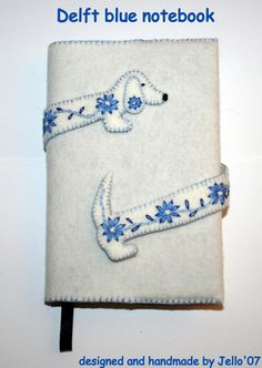 Delft blue dachshund notebook by jello07 on Etsy