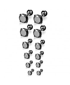 6 Pair 18G Stainless Steel Stud Earrings for Men Women Cartilage Ear  Piercings CZ Inlaid 3-8mm - Black - C91872SUR0S 1348bfe956f8