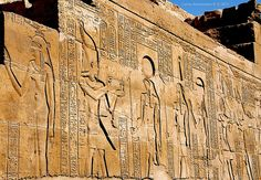 Isis, Osiris, Horus and Ma'at, Temple of Kom Ombo, Aswan, Egypt