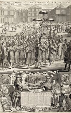 This engraving represents the arrival at Versailles on September 1, 1686, of the letter engraved on a gold leaf sent by the King of Siam (Thailand). The oldest of the Siamese ambassadors knew the court of the Chinese Emperor Kangxi and his master, King Phra Narai (1633-1688), wanted to know how the court of Versailles supported the comparison with that of China. The crowd of the curious rushes to the show in the courtyard of the castle.