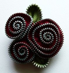 Deep Cranberry  Red Floral Brooch / Zipper Pin by ZipPinning 2153. $24.00, via Etsy.