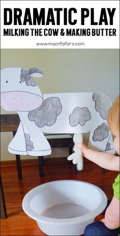 Pretend play is an important part of childhood. This dramatic play milking the cow activity is perfect for a farm theme for toddlers, preschoolers, and kindergarteners. They will learn how farmers milk their cows and will be practicing their fine motor skills.