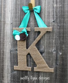 Twine Monogram Letter Wreath with Felt by MollyLynnDesigns on Etsy, $16.99
