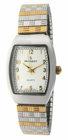 Peugeot Women's 418TT Two-Tone Expansion Watch Peugeot. $49.99. Limited lifetime warranty. Accurate Japanese-quartz movement; durable mineral crystal. Water-resistant to 99 feet (30 M). Easy to read expansion bracelet. Free lifetime battery replacement from Peugeot. Save 31%!