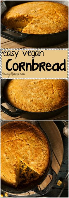 This recipe for vegan cornbread is so easy. Its a soft, fluffy bread with just the right amount of yummy...LOVE!