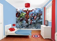 Topic-Boy Room For Pre-Teens.Interest of the kid into Cartoon character.Modern type furniture design style is used.Plain paint and wall paper or stencils are used in the room.Cool color is used.Reason for selecting the picture is the decor and it's unique wall design.Marvel Avengers Wallpaper Murals...The boys need this for their new room!