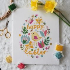Easter cross stitch kit and pattern! Modern cross stitch digital PDF and full kits with DMC and Zweigart fabrics. Cross Stitch Kits Uk, Cross Stitch Beginner, Cross Stitch Tutorial, Cross Stitch Heart, Simple Cross Stitch, Cross Stitch Alphabet, Modern Cross Stitch, Cross Stitch Designs, Cross Stitch Patterns
