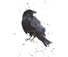 Raven Art Raven Print oiseaux amoureux Corbeau art par eastwitching