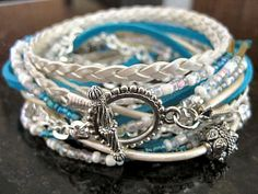 """Boho Chic Endless Leather Wrap Beaded Turquoise Nantucket Bracelet with Silver Accents....""""FREE SHIPPING""""   by LeatherDiva, $38.00"""