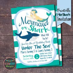 Mermaids and Sharks Party, Sharks and Mermaids Invitation, Mershark Invitation by BloomberryDesigns