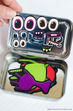 Use the free printable to create this adorable travel activity for kids. Make a monster activity Altoid tin DIY. Indoor Games For Kids, Free Games For Kids, Games For Toddlers, Kits For Kids, Kid Games, Travel Activities, Activities For Kids, Crafts For Kids, Indoor Activities