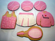 pink tennis skirt and racquet cookies