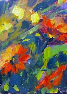 small impressionistic painting of orange gerber daisies and daylilies... by Gina Brown Art