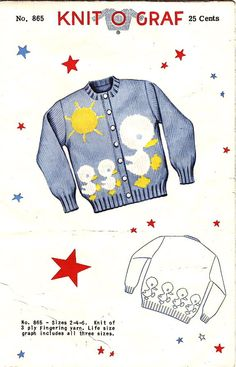 Knit 0 Graph Pattern 865 Vintage 50s Della Finch Design - Childs Duck Cardigan Sweater! Size 2-4-6