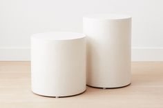"""Handmade from lightweight concrete, these side tables can double as seating, and be used indoors and out. In two sizes.  Large: 16""""D x 20.5""""H Small: 16""""D x 16""""H"""