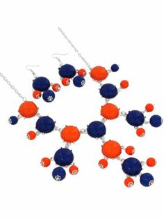 19 Blue and Orange Bubble Necklace and Earring Set