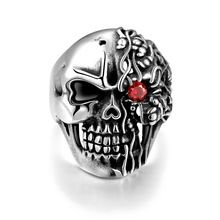 316L Men's Red CZ Skull Biker Punk Gothic Silver Ring anello uomo Stainless Steel Fashion Jewelry Size 8 to 11 Gift(China (Mainland))