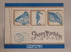 Stampin Up By the Tide & Perfectly Penned. The card base is Pacific Point with a Crumb Cake layer and Very Vanilla.  Crumb Cake & Pacific Point ink - the greeting is stamped with black ink.