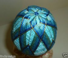 Temari Egg made of Blues and Green Thread over Robin Egg Blue Base