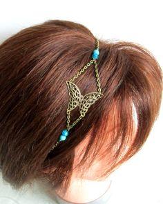 Headband, bijou de tête, collier bohème chic bronze, papillon, perles bleues : Accessoires coiffure par color-life-bijoux
