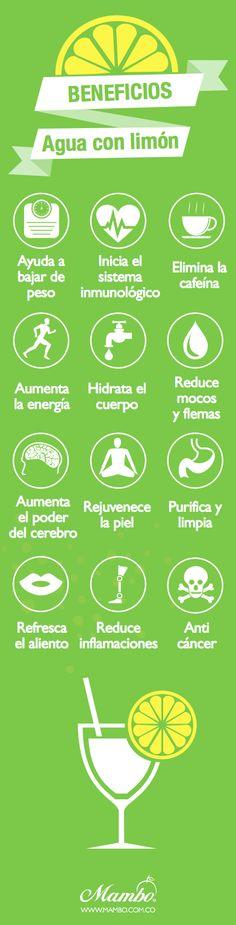 Beneficios de beber #agua con #limón www.mambo.com.co