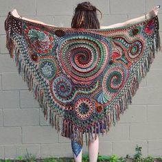 Items similar to Custom Made For You Freeform Crochet Shawl // Ooak Wearable Fiber Art on Etsy Art Au Crochet, Poncho Au Crochet, Crochet Shawls And Wraps, Freeform Crochet, Crochet Scarves, Irish Crochet, Crochet Clothes, Crochet Stitches, Free Crochet