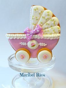 Baby shower, Carrito Galleta Decorada Maribel Rios, royal icing, cookie 3D