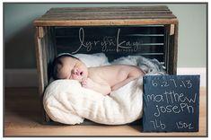 Newborn Photography, newborn in box, chalkboard, newborn baby boy, newborn in crate. Lyryn Kay Photography Crate and vintage-framed chalk-painted message - outdoors? Baby Poses, Newborn Poses, Newborn Shoot, Newborns, Foto Newborn, Baby Boy Newborn, Newborn Photography Tips, Photography Ideas, Baby Shooting