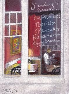 Coffee stop-Versaille Caf , Sunday brunch,, painting by artist Johanna Bohoy