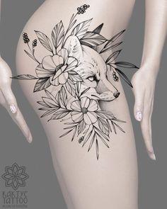 Fox Tattoo Design, Flower Tattoo Designs, Flower Tattoos, Deer Tattoo, Raven Tattoo, Body Art Tattoos, Hand Tattoos, Animal Tattoos, Fox Tattoos