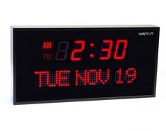 Ivation Big Oversized Digital Blue LED Calendar Clock with Day and Date - Shelf or Wall Mount Inch - Blue) Large and wide, the clock has a beautiful, bright Big Wall Clocks, Red Wall Clock, Unique Wall Clocks, Digital Clocks, Digital Wall, Thing 1, Green Led, Home Wall Decor, Battery Operated