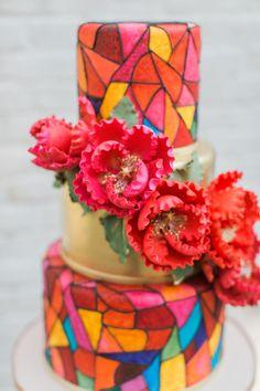 #Gaudi stained glass wedding cake ideas #weddingcakes @weddingchicks