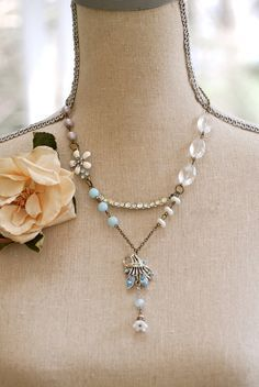 Vintage assemblage old rhinestone flower beaded necklace. Tiedupmemories