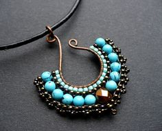 Beaded fan pendant, beadwoven on wire in turquoise and bronze, with gemstones MADE TO ORDER. $46.00, via Etsy.